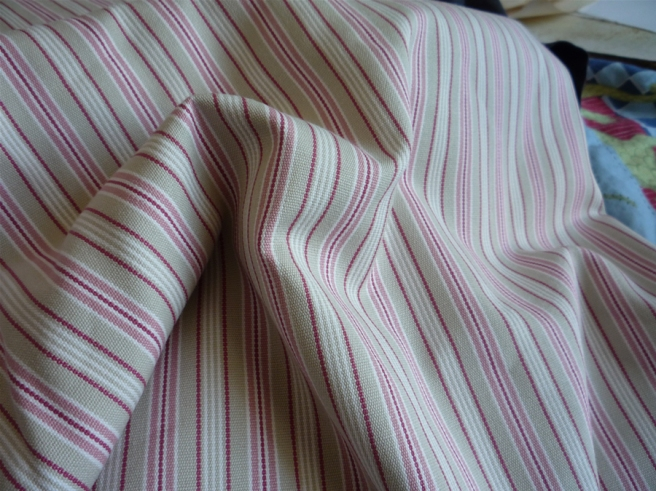Rose, sand and cream coloured stripes - about 3 yards of them